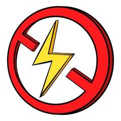 No lightning icon cartoon