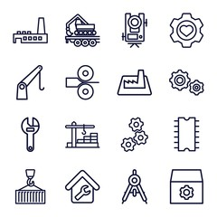 Set of 16 engineering outline icons