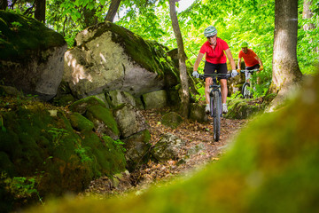 Couple Mountain Biking on Single Track in the Forest Wall mural