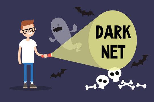 Conceptual illustration. Young nerd exploring the Darknet / cartoon style editable flat illustration, clip art