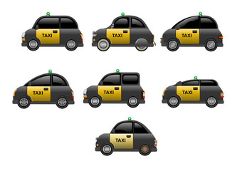 A fleet or collection of taxis from Barcelona. Vector Illustration