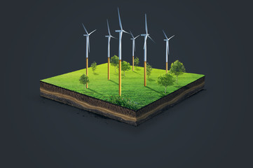 Wind power plant station. 3d illustration of a soil slice, green meadow with trees isolated on dark background