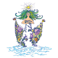 Mother nature as beautiful woman in dress of flowers with curly green hair holding lilies of the valley. Suitable for Mother Day and Earth Day pictures and cards. Vector Illustration