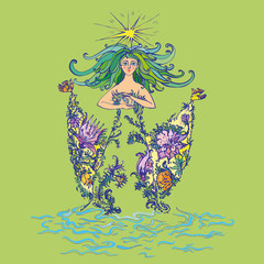 Mother nature as beautiful woman in dress of flowers with curly green hair holding lilies of the valley. Suitable for Mother Day and Earth Day pictures and cards. Vector Illustrationn