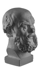 White plaster bust, sculptural portrait of Socrates