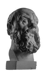 White plaster bust, sculptural portrait of Socrates