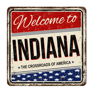 Indiana vintage rusty metal sign