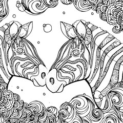 hand drawn ink doodle zebra and wave on white background. design for adults, poster, print, t-shirt, invitation, banners, flyers. sketch. vector eps 8.
