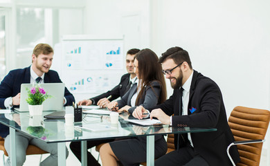 business team prepares the presentation of a new financial project on a workplace