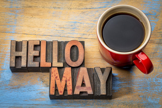 Hello May word abstract in wood type