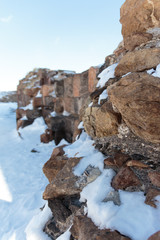 Archaeological Site of Ani Ruins on UNESCO World Heritage List. Kars Turkey ,February 2017.