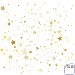 Gold Confetti celebration, Falling golden stars - abstract decoration for party, birthday celebrate, anniversary or event, festive. Festival decor. Vector illustration