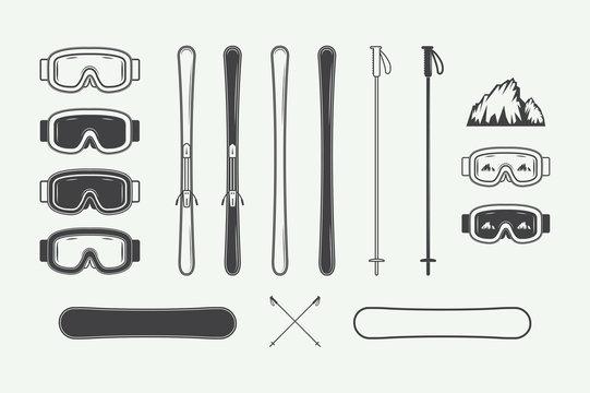 Set of vintage snowboarding or winter sports design elements. Vector illustration. Monochrome Graphic Art.