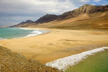 View on the beach Cofete on Fuerteventura, Spain.