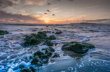 Brook Bay, Isle of Wight, at Sunset on a windy day