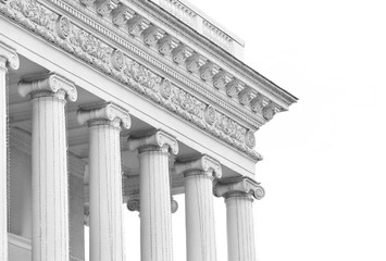 Closeup of building with columns in neoclassical style Fototapete