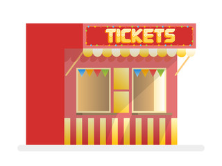 Tickets sale red kiosk. Cartoon vector illustration