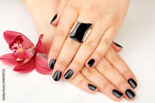 Nail Art Concept Beautiful Female Hands With Manicure And Flower On