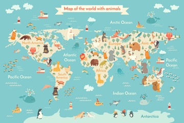Animals world map for kid. World vector poster for children, cute illustrated. Сartoon globe with animals. Oceans and continent: South America, Eurasia, North America, Africa, Australia.Baby world map