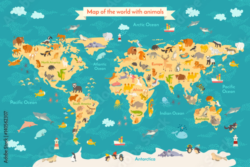 Animal Map For Kid World Vector Poster For Children Cute