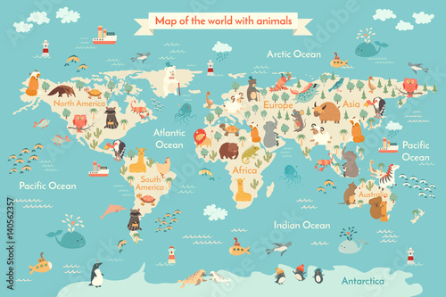 Animals world map for kid world vector poster for children cute animals world map for kid world vector poster for children cute illustrated artoon gumiabroncs Gallery
