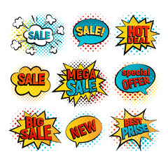 Sale pop art vector set. Big, Mega sale, Best price and Hot deal comic style. New, Special offer on spech bubble. Explosion bubbles isolated discount promotion