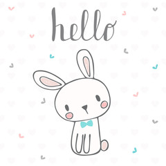 Cute postcard with funny rabbit. Card with hello text for little boy. Template for your design