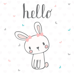 Cute postcard with funny rabbit. Card with hello text for little girl. Template for your design