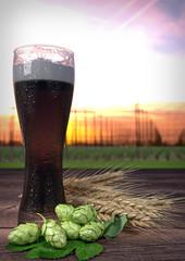 dark beer with hop-garden on background. 3D render