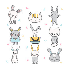 Set of cute hand drawn bunnies and cats. Collection of children doodles and sketches with funny animals