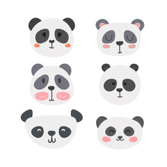 Set of cute pandas. Funny doodle animals. Little panda in cartoon style