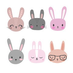 Set of cute rabbits. Funny doodle animals. Little bunny in cartoon style