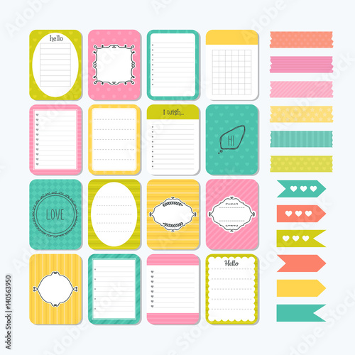 Template for notebooks  Cute design elements  Flat style  Notes