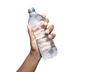 Hand holding bottle of water