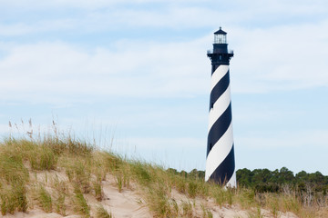 Canvas Prints Lighthouse Cape Hatteras Lighthouse seen from beach NC USA
