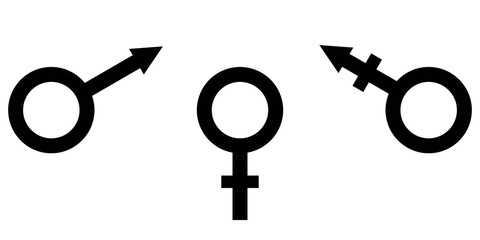 sign symbol of gender equality Male, female and transgender equality