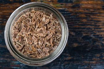 Dills seeds in a spice jar