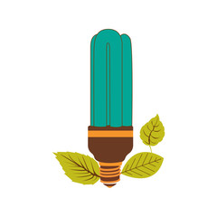 fluorescent bulb in color turquoise with leaves vector illustration