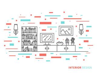 Linear flat interior design illustration of modern designer living room interior space with cupboard, shelves, stove, lamps, fridge. Outline vector graphic concept of living room interior design
