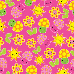 Spring seamless pattern with cute mushroom and flower cartoon suitable for spring wallpaper, scrap paper, and postcard