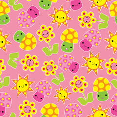 Spring seamless pattern with cute mushroom and flower cartoon on pink background suitable for spring wallpaper, scrap paper, and postcard