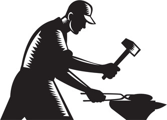 Blacksmith Worker Forging Iron Black and White Woodcut