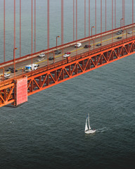 High angle view of vehicle driving across the Golden Gate Bridge