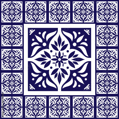 Blue white tiles floor pattern vector with ceramic for Blue and white cement tile