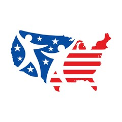 usa map logo vector.  us map.