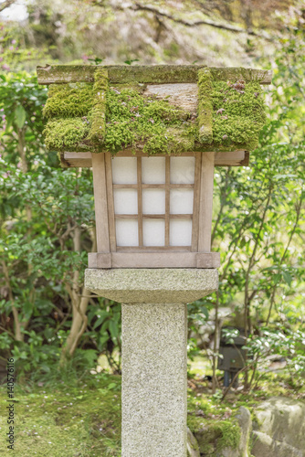 Japanese Wooden Lantern In Japanese Garden Stock Photo And Royalty