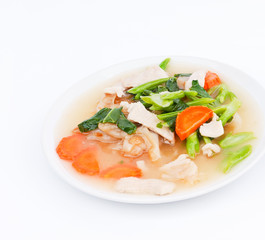 Fried noodles with pork,chinese broccoli and carrot in gravy sauce.It was the type of food one dish in Thailand,as in many flavors such as sour,sweet,salty,and are easy to eat.