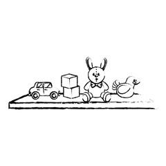 Toys on ledge icon vector illustration design
