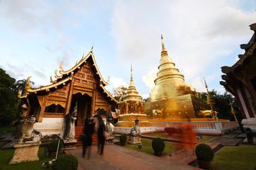 Group of Chedi, Stupa at Wat Phra Singh, Thailand.