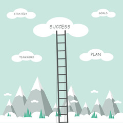 Way to cloud success with ladder. Success in business. Vector illustration.